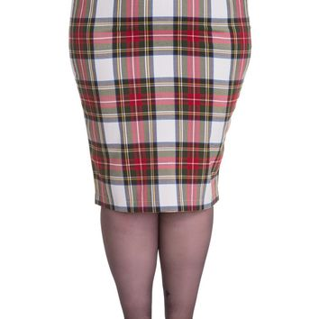 Hell Bunny Plus London Rock Rockabilly Office Lady Tartan Pencil Wiggle Skirt