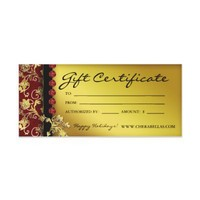 Xmas Gift Certificates Salon Spa Gold Red Floral Rack Card from Zazzle.com