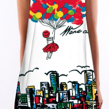 Hot Air Balloon Print Sleeveless Shift Dress