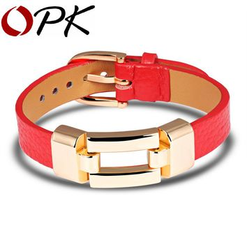 OPK Leather Charm Bracelets For Woman Man Personality Black/Red Color Stainless Steel Women Men Jewelry Bracelet Gift PH985
