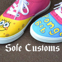 Boutique Custom Hot Pink SpongeBob Hand painted Tennis Shoes Toddler Girls