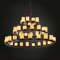 Justice Design Group CNDL-8714-14-CRE-DB CandleAria Dakota Forty-Five-Light Three-Tier Ring Chandelier