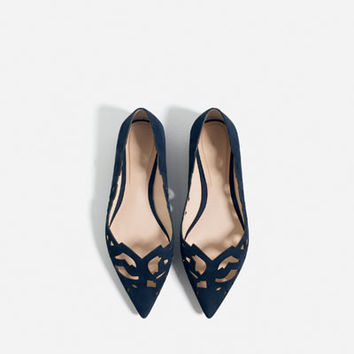 LASER - CUT LEATHER BALLET FLATS-View all-SHOES-WOMAN | ZARA United States
