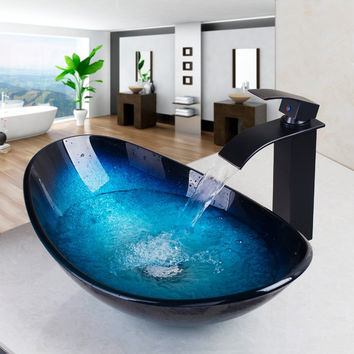 Waterfall Spout Basin Black Tap+Bathroom Sink Washbasin Tempered Glass Hand-Painted 42638255-1  Bath Brass Set Faucet,Mixer Taps