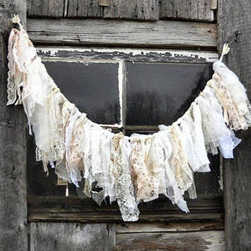 Tattered Fabric Window Valance, Cottage Chic Rag Tie Garland, Fireplace Mantle Display