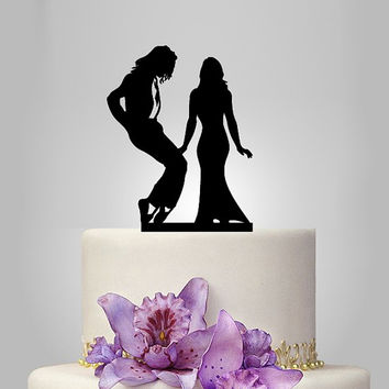 michael jackson Wedding Cake Topper, Bride and Groom silhouette cake topper, acrylic cake topper black color, funny and unique
