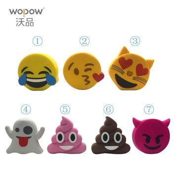 wopow Power Bank 2000mah Funny Cute Emoji Unicorn Shaped Power Bank PVC Material Charge Cartoon Powerbank For Mobile Phone