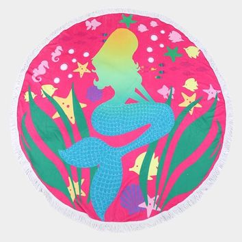 Mermaid Round Beach Towel ~ Fuchsia