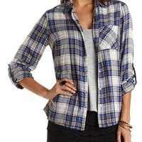 Plaid Button-Up Top by Charlotte Russe - Blue Combo