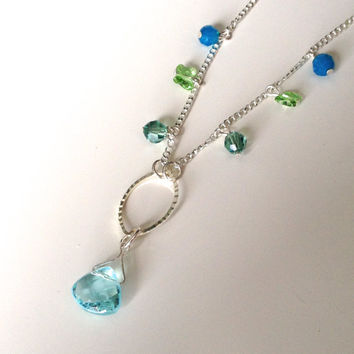 Charm Necklace - Light Crystal Necklace - Blue & Green Necklace - Butterfly Necklace - Dangle Necklace - 16 inch Necklace