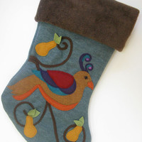 Elegant Christmas Stocking--Partridge in a Pear Tree