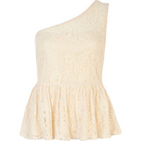 River Island Womens Light pink lace one shoulder peplum top