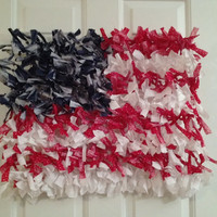 Fourth of July Flag Wreath, Red White and Blue, Wreath, 4th of July, Celebration, American Flag, Shabby chic flag, Americana Flag, Patriotic