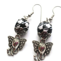 Houndstooth Earrings / Elephant Charm Dangle Earrings / Black and White / Silver Swirl / Houndstooth Bead