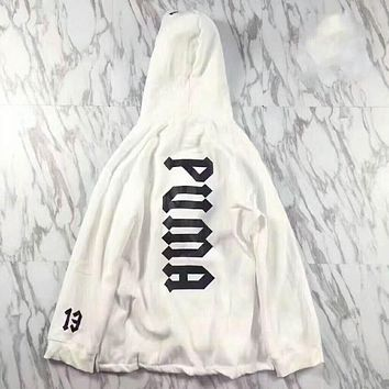 PUMA X FENTY Women Men Casual Print Hoodie Thick Top Pullover Sweater Sweatshirt White I-MG-FSSH
