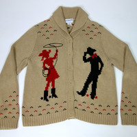 Pendleton western cardigan, cowgirl and cowboy lasso print cotton button up cozy novelty print cardigan, Medium loose fit