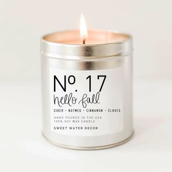 Hello Fall Soy Candle | Silver Tin Candle