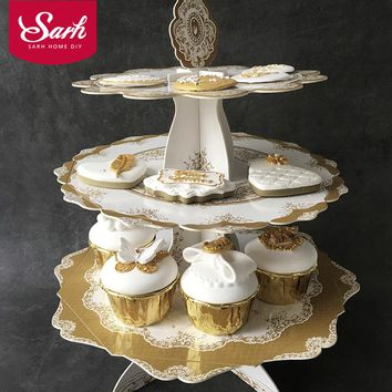 European Luxurious Retro Bronzing 3 Layer Paper Cake Stand Party Supplies Dessert Table Wedding Birthday Celebration