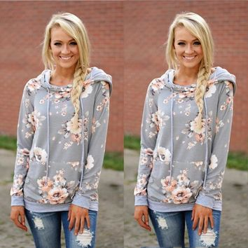 New Autumn Winter Women Floral Print Hooded Pullovers Long Sleeve Sweatershirts Casual Hoodies Women Clothing