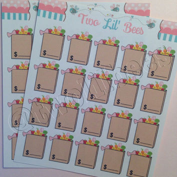Grocery Bag Stickers! Perfect for your Erin Condren Life Planner, FiloFax, Plum Planner, Scrapbook ~