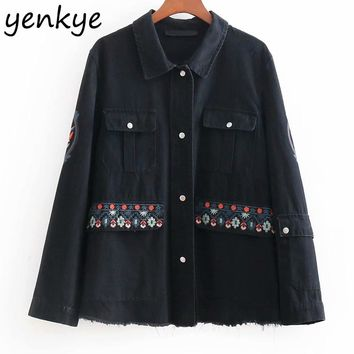 Women Floral Embroidery Denim Jacket Lady  Long Sleeve Single-breasted Vintage Black Autumn Jacket Plus Size Coats BBWM8335