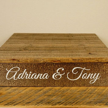 "Personalized Wedding Cake Stand - Rustic Wood, Sizes 12""x12"" or 14""x14"""