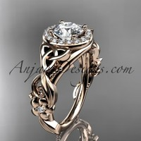 "14kt rose gold diamond celtic trinity knot wedding ring, engagement ring with a ""Forever Brilliant"" Moissanite center stone CT7300"