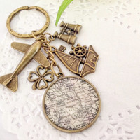 Keychain - Vintage Map Pendant Charm,  A Gift for Him or Her, Bag Dangle
