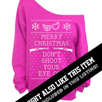 Ugly Christmas Sweater - Red Slouchy CREW - Don't Shoot Your Eye Out