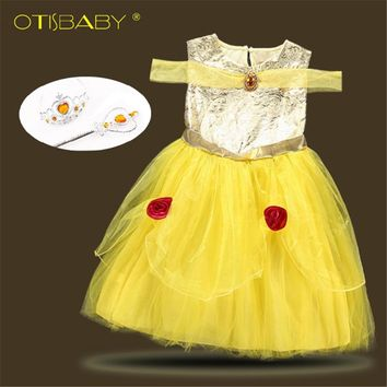 Halloween Christmas Girls Beauty and Beast Cosplay Infant Costume Belle Princess Dress Children Floral Dress 1 2 3 4 5 6 years