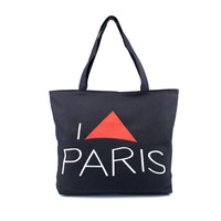Large Space Women Canvas Handbag Zipper Shopping Shoulder Bag Paris Eiffel Tower Girls Beach Bookbag Tote Bolsa CF