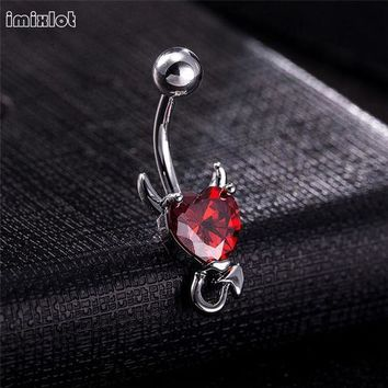 ac DCCKO2Q 1 Piece 316L Stainless Garnet Heart Zircon Crystal Devil Belly Button Ring Navel Piercing Nombril Ombligo Body Jewelry 14g