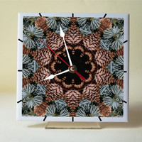 Desk clock, Cones and needles mandala 6-inch ceramic tile clock with stand, garden evergreen, brown, tan, teal, gift for gardener