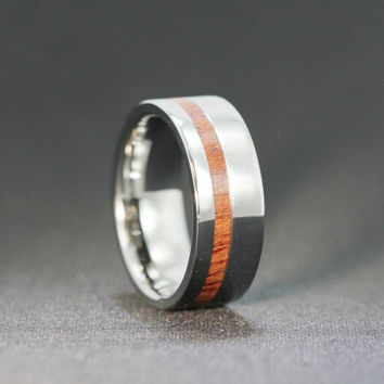 Custom Made Titanium Ring with Blood Wood Inlay Interchangeable, Ring Armor Included