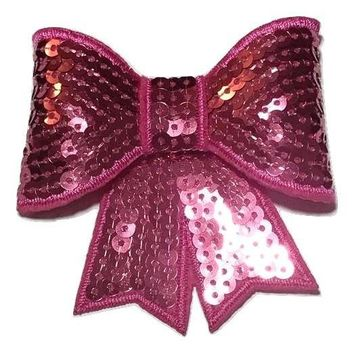 "Hot pink JUMBO 3"" sequin bow"
