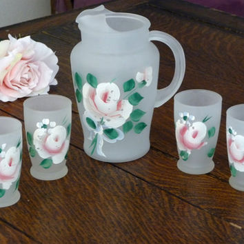 Rose Frosted Juice Glasses & Pitcher - Shabby Chic Drink Set Painted Roses