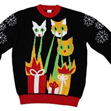 laser cat zillas ugly christmas sweater funqi black small - Ugly Christmas Sweater Amazon