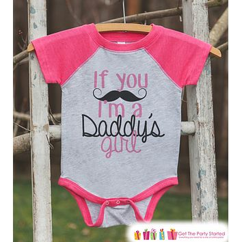 Girls Father's Day Outfit - Pink Raglan Shirt - Mustache Daddy's Girl - Happy Father's Day Onepiece or Tshirt - Childrens Raglan Tee - Girls