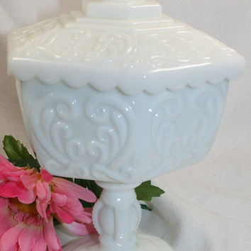 Vintage Imperial Atterbury Scroll Milk Glass White Wedding Cake Jar w/Lid G756