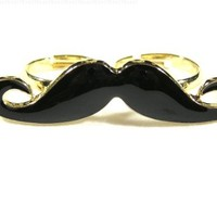 Handlebar Mustache Double Ring Gold Tone Adjustable Band RA08 Vintage Indie Hipster Fashion Jewelry