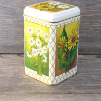 Sunflower and Daisy Tin Can * Small Floral Can