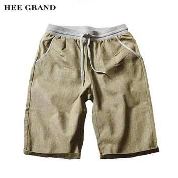 HEE GRAND Men Summer Shorts 2017 New Arrival Cotton Linen Breathable Material Casual Knee-length Male Loose Shorts MKD1471