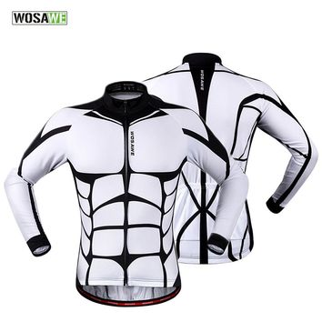 WOSAWE 100% POLYESTER Men's Cycling Jersey Long Sleeve Outdoor Sports Bicycle Cycle Clothing Quk Dry Riding Clothes