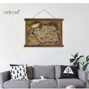 HD Light  Shade Map Scroll Canvas Painting