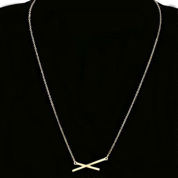 Dainty Thin Criss Cross Gold Bar Pendant Layering Necklace