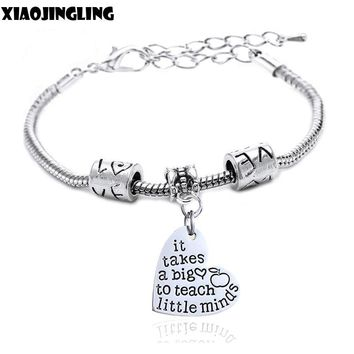 It Takes A Big Heart To Teach Little Minds Heart Charm Bracelet