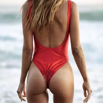 Women push-up one piece swimsuit designer womens swimwear one piece high cut swi