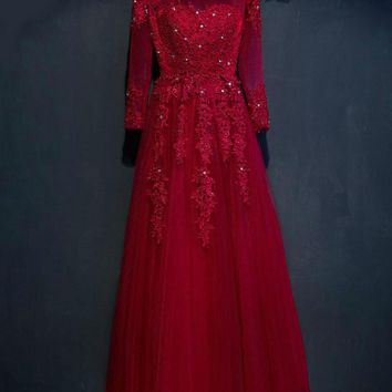 New arrival Bridal evening dress  lace embroidery ball gown long-sleeve banquet evening formal dress