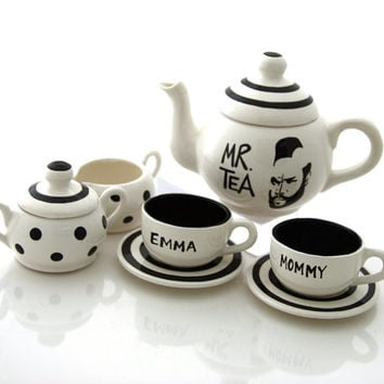 Mr T Tea Teapot Tea Set For Children or Dolls, can be personalized, childrens teaset, gift for baby shower or birthday