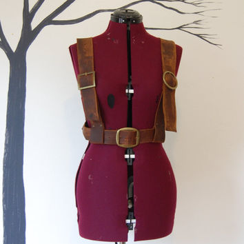 Rugged brown leather under bust harness goth steampunk modern fashion